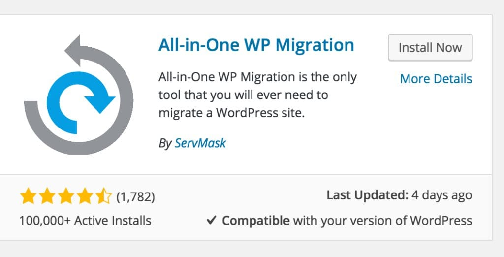 Migrating WordPress Site All in One WP Migration