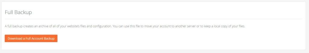 Full Account Backup
